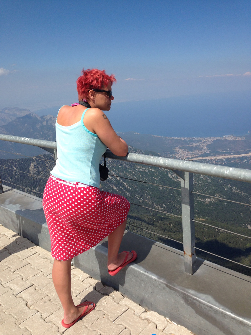 Linen Jersey Camisole and spotty print linen A-line skirt