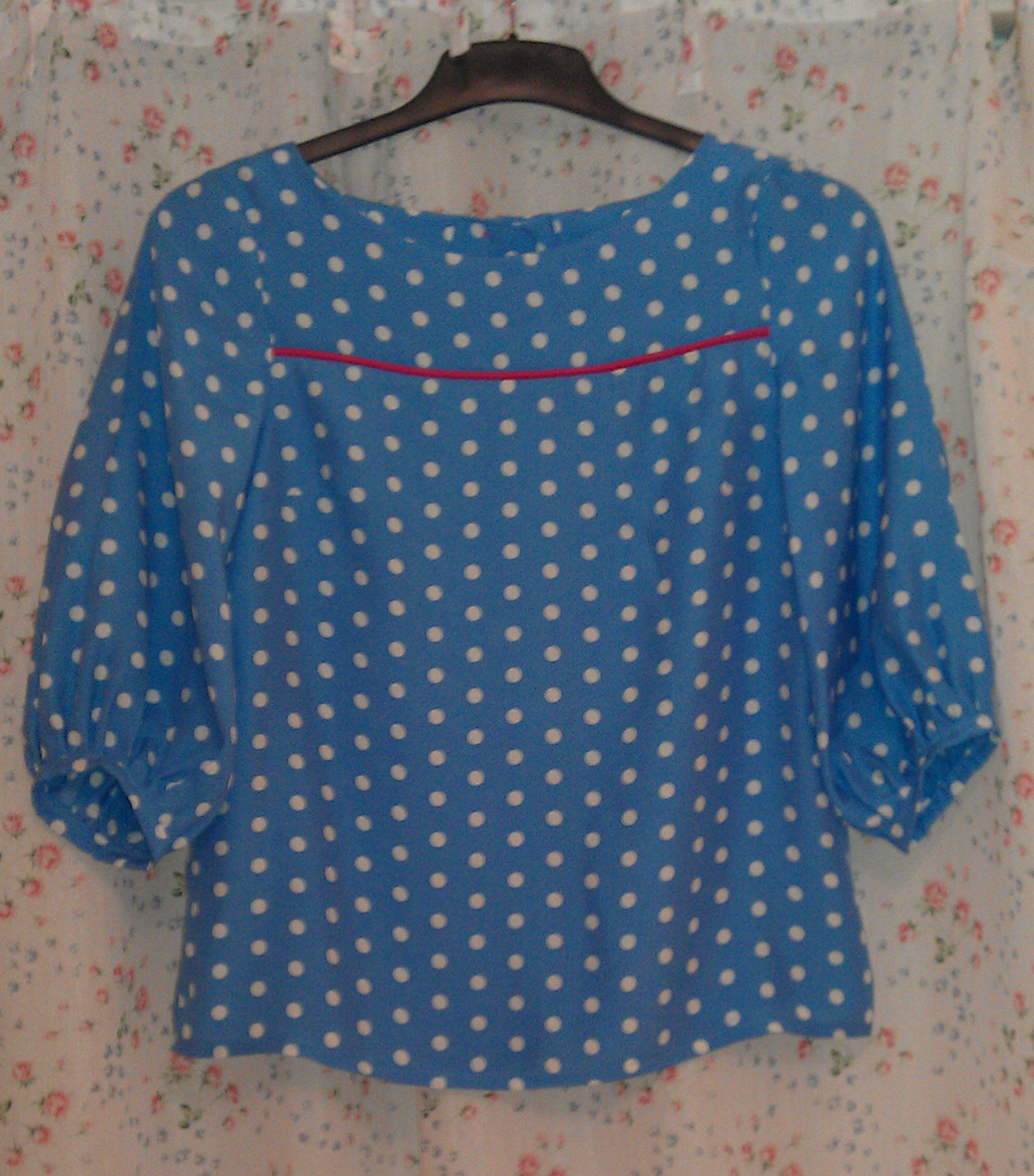 spotty viscose button back Tilly Warnes Mathilde blouse