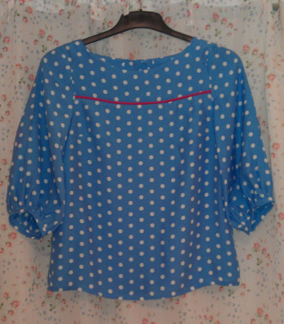 spotty viscose button back Tilly Warnes Mathilde blouse