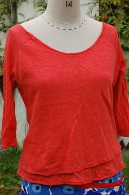 red linen jersey double layer raglan t-shirt