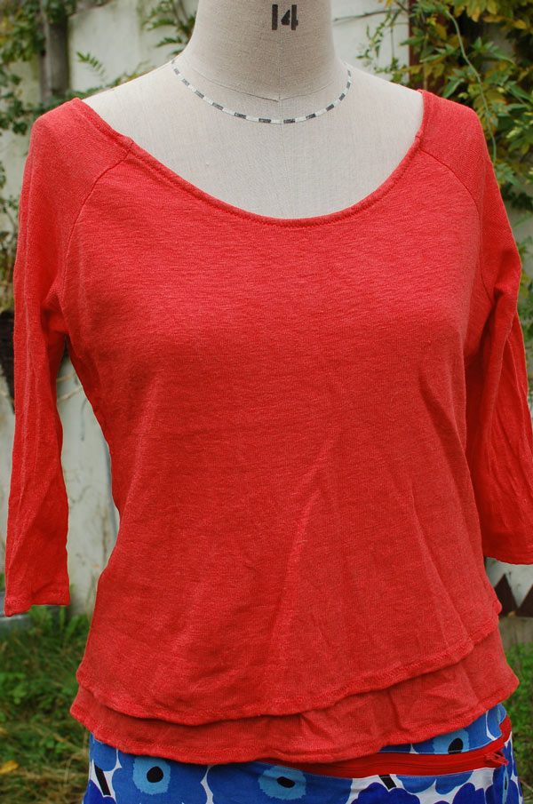 red linen jersey double layer raglan t-shirt