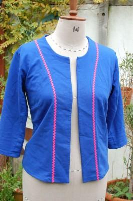 lightweight sweatshirting cardigan with rick rack trim
