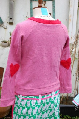 pink and red double sided wool and cotton jersey knit