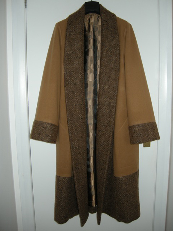 brown wool melton and tweed coat
