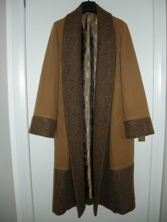 brown wool melton and tweed coat