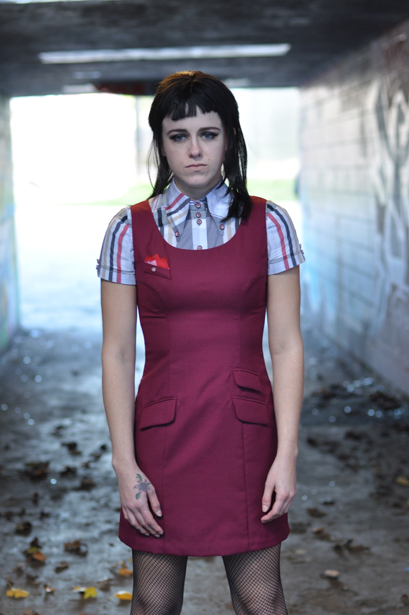 burgundy worsted wool shift dress