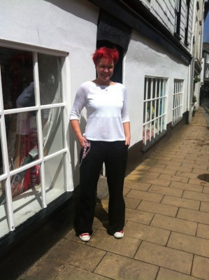 White linen jersey and black heavy viscose
