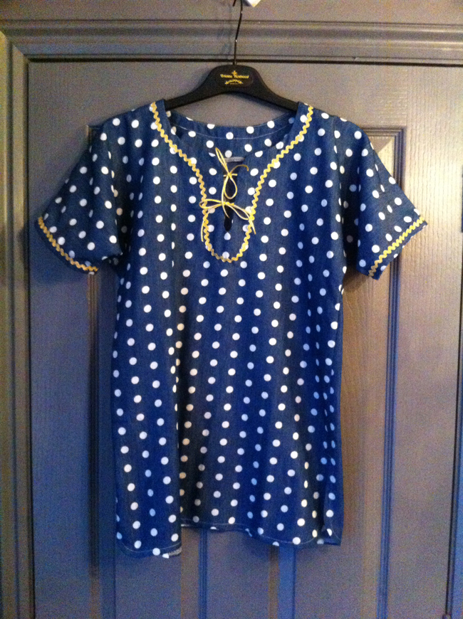 spotty denim kaftan
