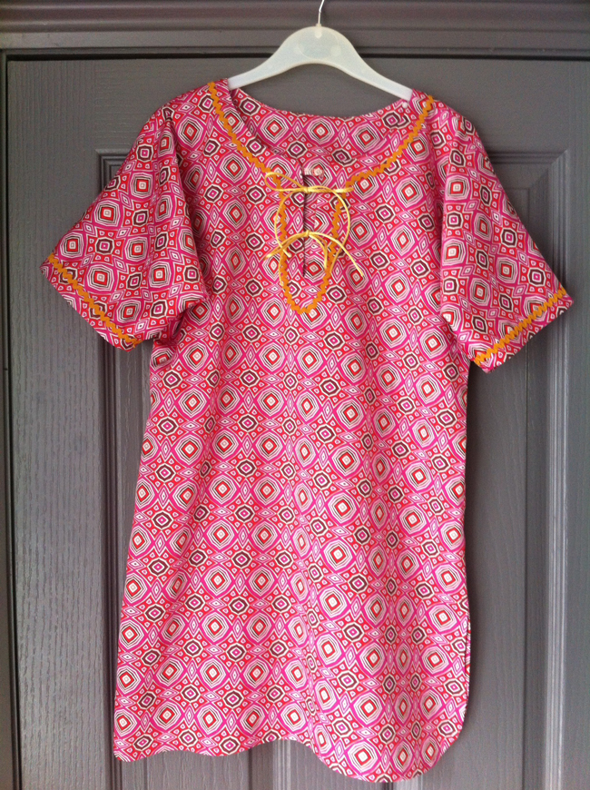 pink printed cotton kaftan