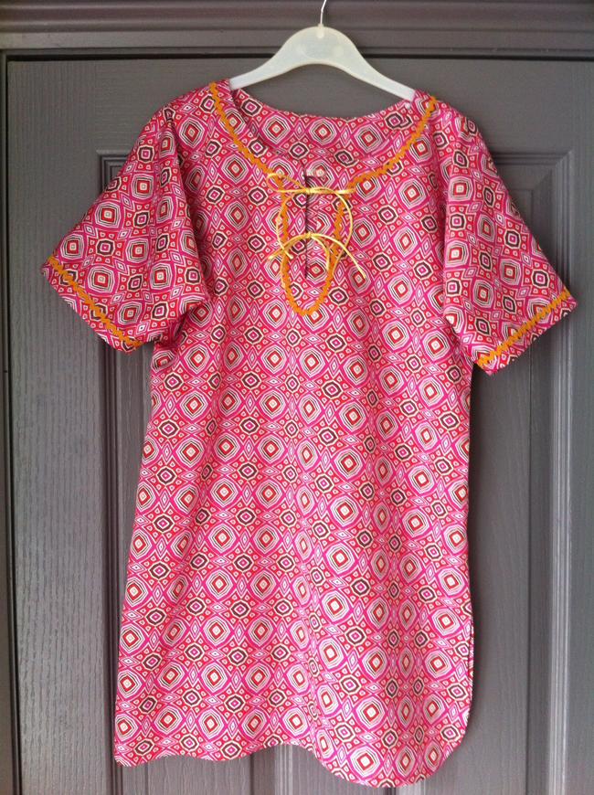 pink printed cotton kaftan