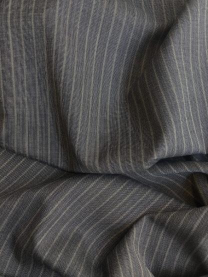 Steel Blue Grey pinstripe fine Worsted Wool Suiting