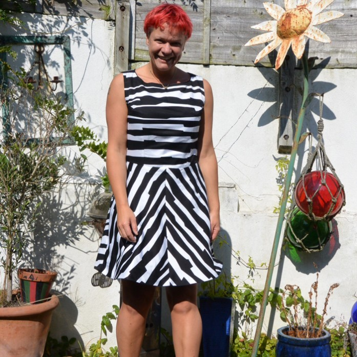 reversible denim and printed viscose dress