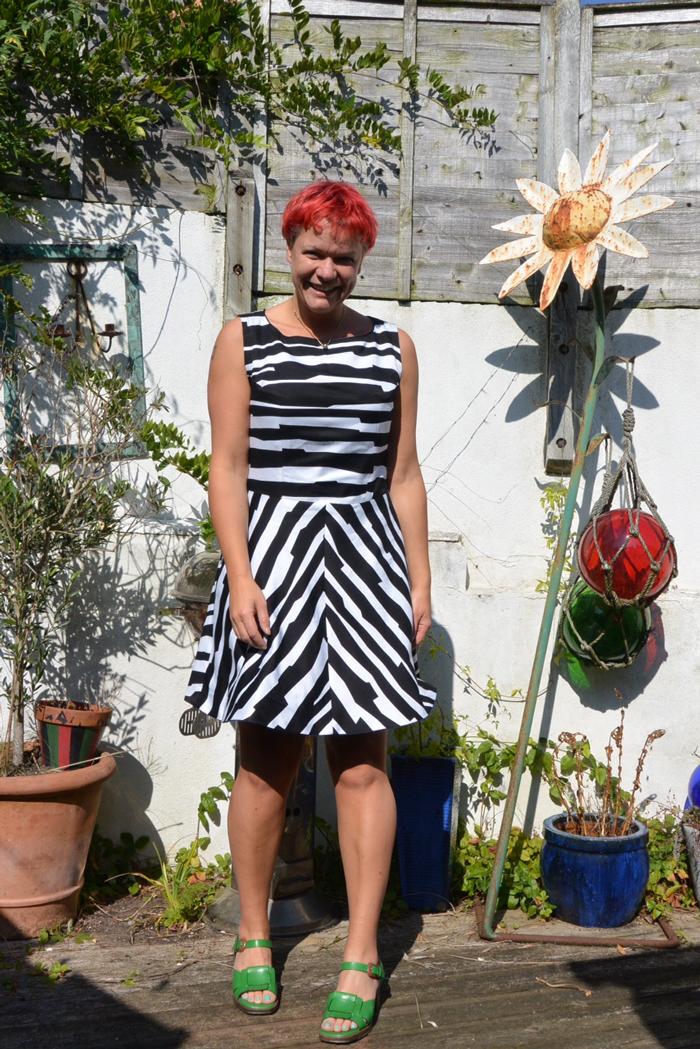 reversible denim and printed viscose dress