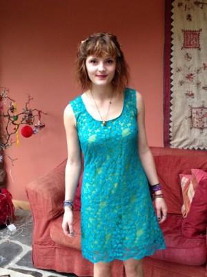 peacock lace shift dress