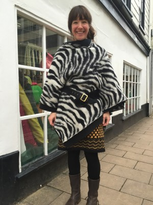 tiger stripe boiled wool cape