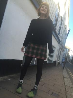 British wool tweed check mini skirt