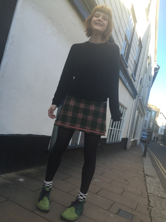 British wool tweed check mini skirt