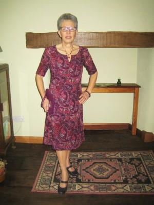 purple paisley wool challis dress