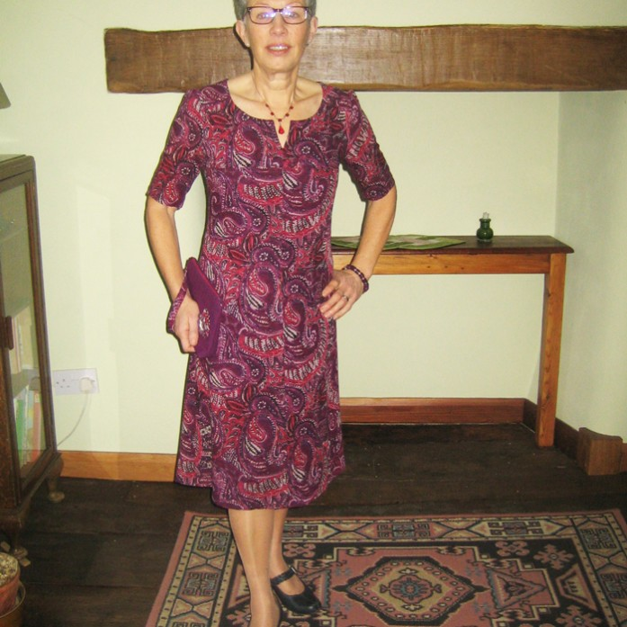purple paisley wool challis dress