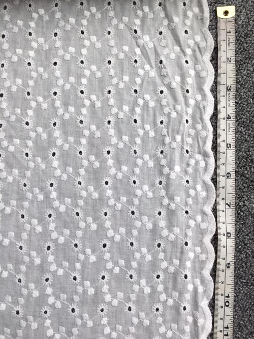 scalloped edge floral white cotton embroiderie anglaise