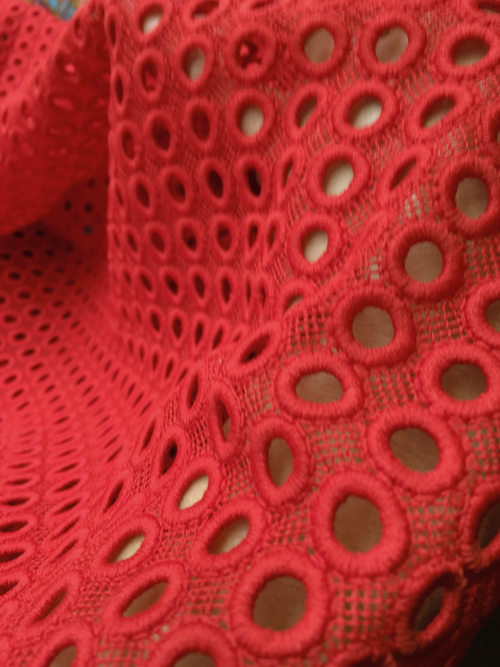 red circle design guipure lace