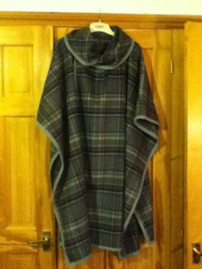 wool mix coating cape with wool look acrylic foldover binding