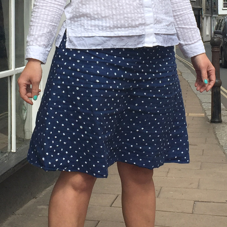 hand painted spotty Irish linen skirt