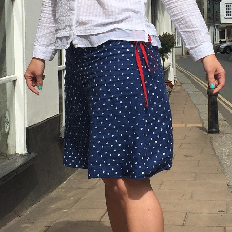 picot edge petersham ribbon belt on Irish Linen skirt