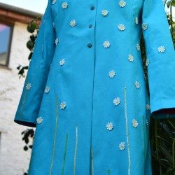 daisies and sequined grass embellished cotton piqué coat