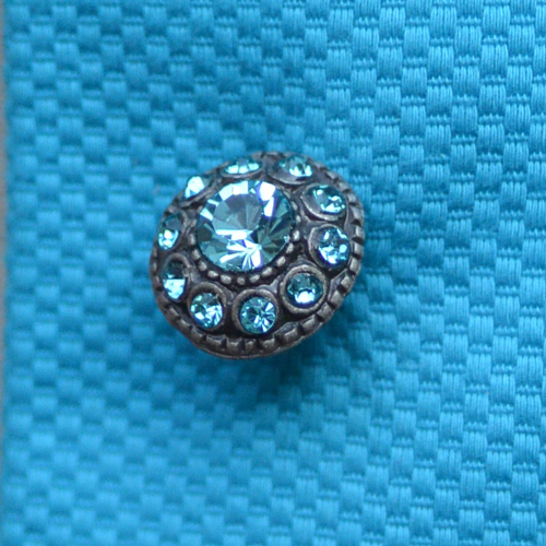 Turquoise diamanté and oxidised metal asian inspired button