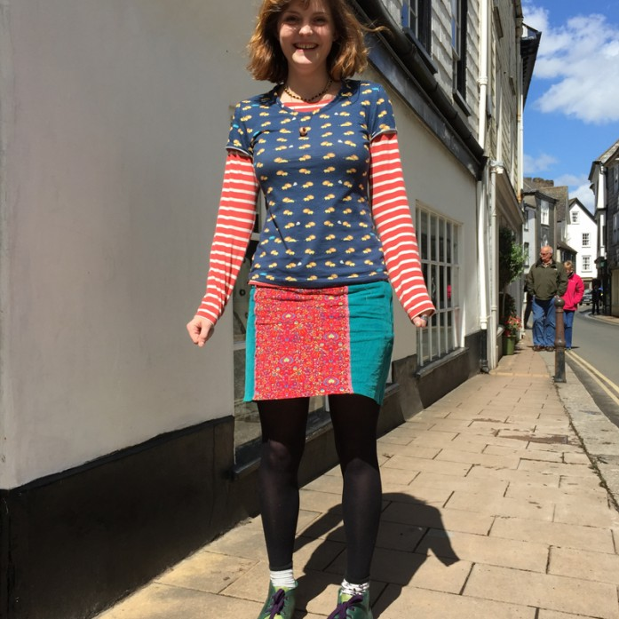 lion print cotton t-shirt and panelled cord skirt