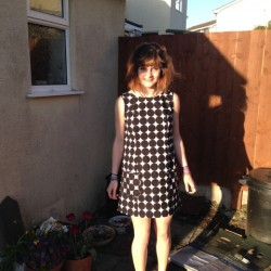 black and white spot print cotton 60's mini dress