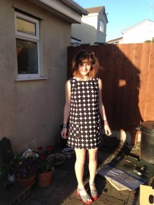 black and white spot print cotton 60's mini dress