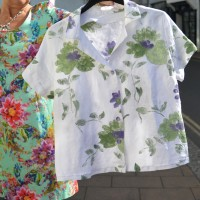 embroidered and hand painted Italian linen shirt