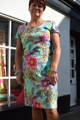 Floral digital printed cotton canvas shift dress