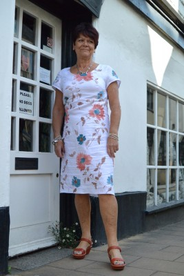 embroidered and hand painted Italian linen dress