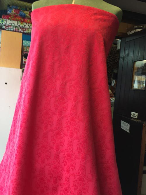 Fuchsia red pink cotton mix stretch jacquard suiting