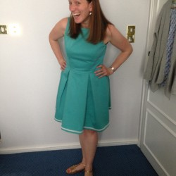 sea green stretch cotton piqué pleated dress