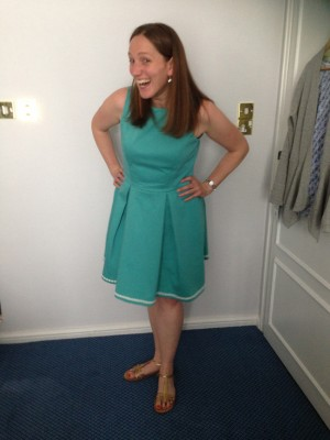 sea green stretch cotton piqué pleated dress