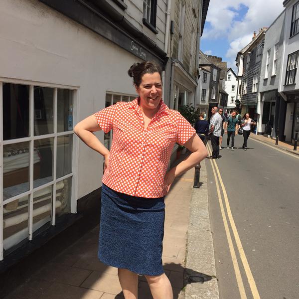 spotty cotton shirt and rococo printed stretch denim skirt