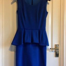 ultramarine blue ponte roma jersey peplum dress