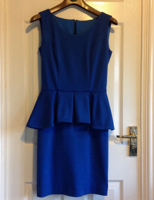 ultramarine blue ponte roma jersey peplum dress