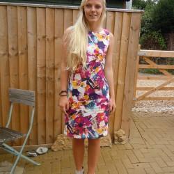 printed linen shift dress