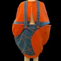 orange bouclé wool mix knit braced skirt