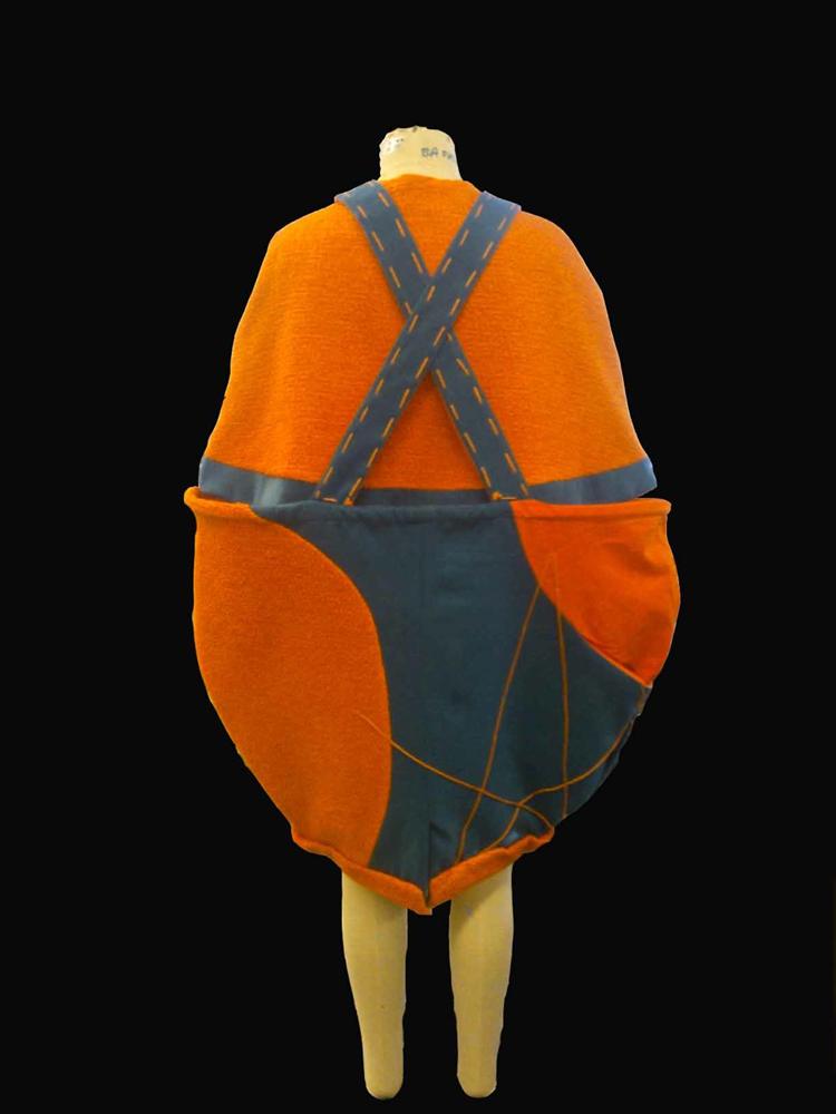 orange bouclé wool mix braced skirt -back