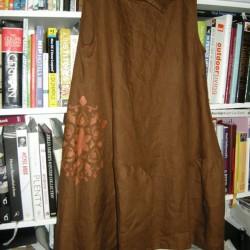hand painted brown linen dress