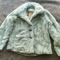 Child's fur coat with bunny rabbit print lining