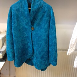 turquoise chenille brocade jacket