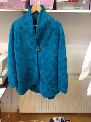 turquoise chenille brocade jacket