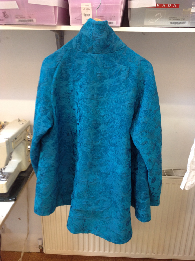 turquoise chenille brocade jacket-back